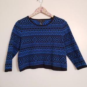 FOREVER 21 Aztec print cropped sweater Large